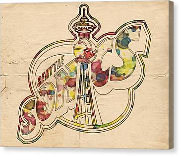 Seattle Sonics Retro Poster Canvas Print by Florian Rodarte