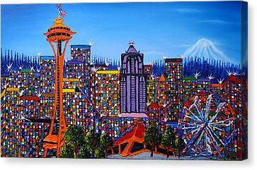 Seattle Space Needle #6 Canvas Print by Portland Art Creations