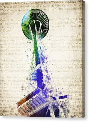 Seattle Space Needle Canvas Print by Aged Pixel