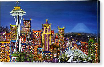 Seattle Space Needle At Dusk Canvas Print by Portland Art Creations