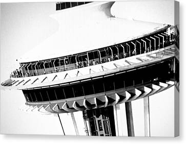 Canvas Print featuring the photograph Seattle Space Needle Close Up by Amy Giacomelli