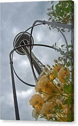 Canvas Print featuring the photograph Seattle Spaceneedle With Watercolor Effect Yellow Roses by Valerie Garner