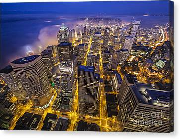 Seattle Sunrise Fog Canvas Print by Mike Reid