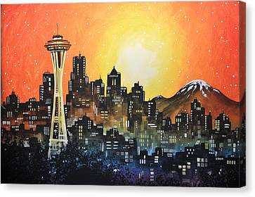 Canvas Print featuring the painting Seattle Sunset by Amy Giacomelli