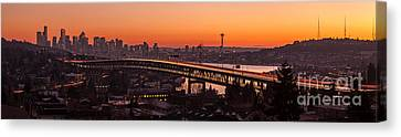 Union Bridge Canvas Print - Seattle Sunset Panorama by Mike Reid