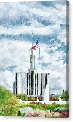 Canvas Print featuring the painting Seattle Temple 1 by Greg Collins