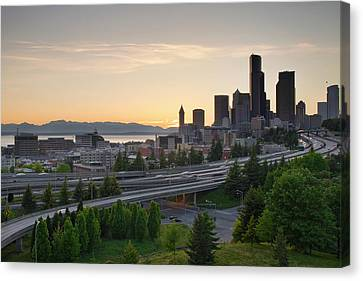 Canvas Print featuring the photograph Seattle Washington Downtown City Sunset by JPLDesigns