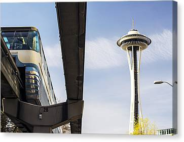 Seattle Washington Monorail And Space Needle Canvas Print