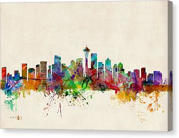 Silhouettes Canvas Print - Seattle Washington Skyline by Michael Tompsett