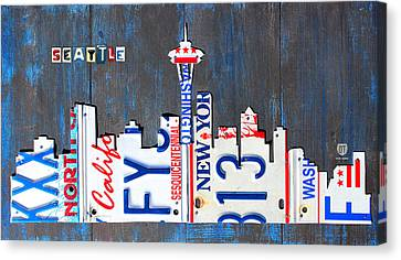 Seattle Washington Space Needle Skyline License Plate Art By Design Turnpike Canvas Print by Design Turnpike