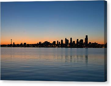 Canvas Print featuring the photograph Seattle Washington Waterfront Skyline At Sunrise Panorama by JPLDesigns