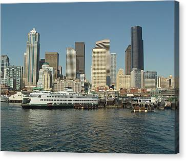 Seattle Waterfront Canvas Print by John Bushnell