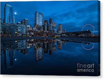 Seattle Waterfront Reflection Canvas Print