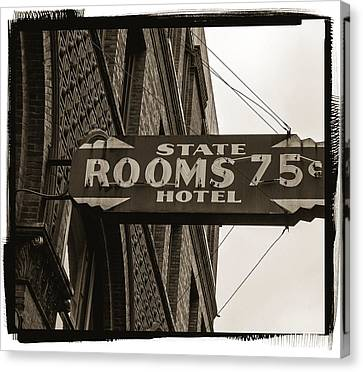 Seattle's Pioneer Square - Historic State Hotel Canvas Print by Jordan Blackstone