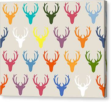 Patterned Canvas Print - Seaview Simple Deer Heads by Sharon Turner