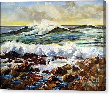 Canvas Print featuring the painting Seawall by Lee Piper
