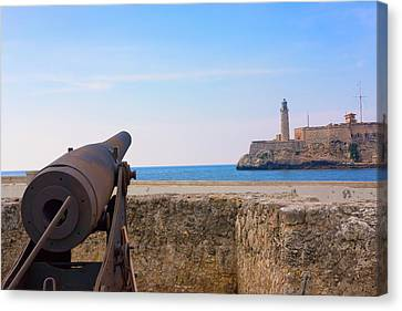 Seawall With El Morro Fort, Havana Canvas Print by Keren Su