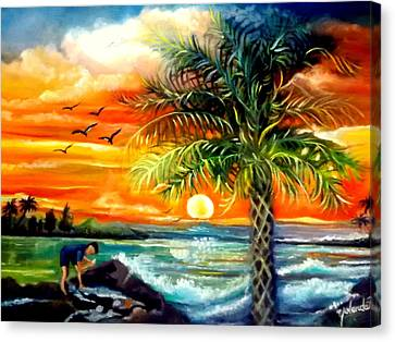 Canvas Print featuring the painting Seawaves Sunset In Tampa by Yolanda Rodriguez