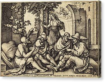 Sebald Beham German, 1500 - 1550, Job Conversing Canvas Print by Quint Lox