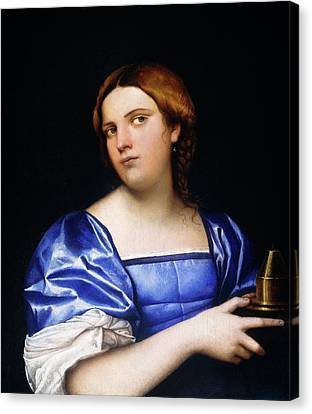 Sebastiano Del Piombo, Portrait Of A Young Woman As A Wise Canvas Print by Litz Collection