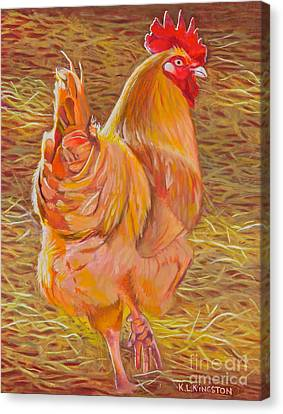 Canvas Print featuring the painting Sebastopol Rooster by K L Kingston