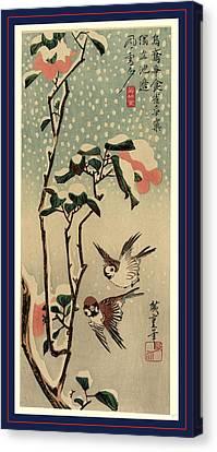 Secchu Tsubaki  Ni Suzume Canvas Print by Utagawa Hiroshige Also And? Hiroshige (1797-1858), Japanese