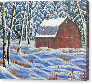 Canvas Print featuring the painting Secluded Barn by Susan DeLain