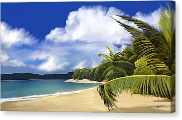 Palm Trees Canvas Print - Secluded Hideaway by Anthony Fishburne
