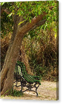 Secluded Park Benches Canvas Print by Jess Kraft