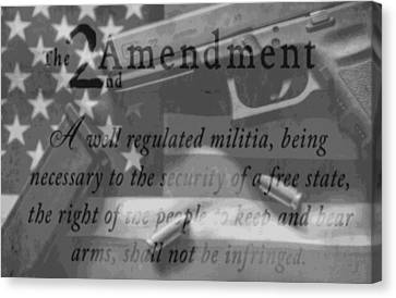 Second Amendment Black And White Canvas Print by Dan Sproul