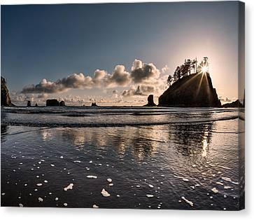 Second Beach Light And Current Canvas Print by Leland D Howard