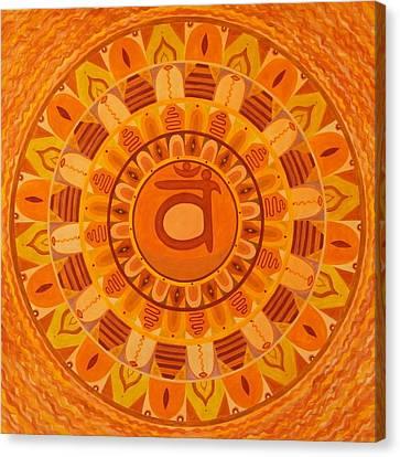 Second Chakra Mandala Canvas Print by Vlatka Kelc