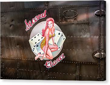 Second Chance - Aircraft Nose Art - Pinup Girl Canvas Print by Gary Heller