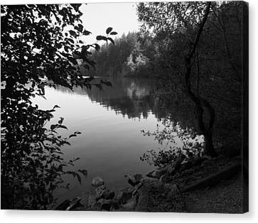 Second Lake Padden Reflection In Black And White  Canvas Print