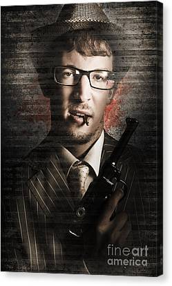 Secret Agent Biting The Bullet Canvas Print by Jorgo Photography - Wall Art Gallery