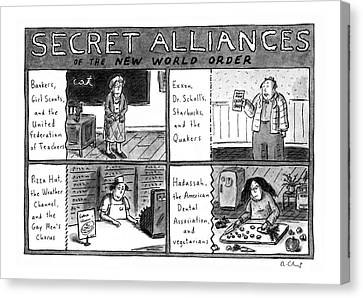 American Car Canvas Print - Secret Alliances Of The New World Order by Roz Chast