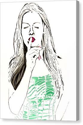 Canvas Print featuring the painting Secret by Denise Deiloh