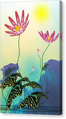Abstract Flowers Canvas Print - Secret Lotus by GuoJun Pan