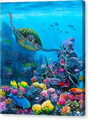 Tropical Fish Canvas Print - Secret Sanctuary - Hawaiian Green Sea Turtle And Reef by Karen Whitworth
