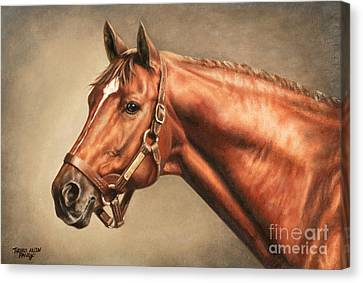 Secretariat At Claiborne Canvas Print by Thomas Allen Pauly
