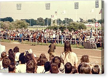 Secretariat Race Horse Coming Down To The Finish Line By Himself To Win The Big Race At Arlington R Canvas Print