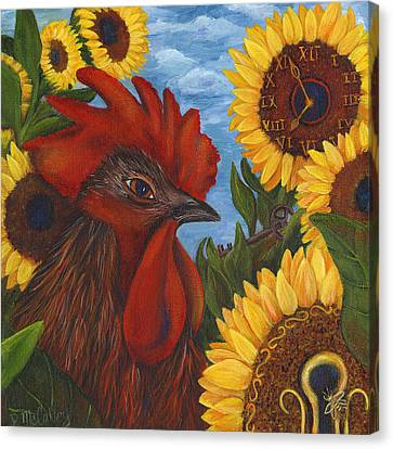 Secrets Of The Garden Rooster Canvas Print by Debbie McCulley