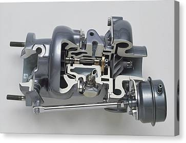 Sectioned Modern Turbocharger From An Car Canvas Print