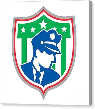 Security Guard Police Officer Shield Canvas Print by Aloysius Patrimonio