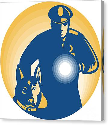 Security Guard Policeman Police Dog Canvas Print by Aloysius Patrimonio