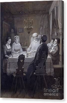 Seder - The Passover Meal Canvas Print by Moritz Daniel Oppenheim
