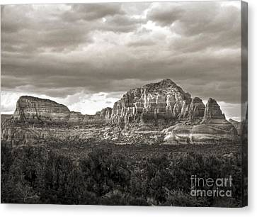 Sedona Arizona Black And White Mountains And Big Sky Canvas Print by Gregory Dyer