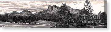 Sedona Arizona Black And White Panorama Canvas Print by Gregory Dyer
