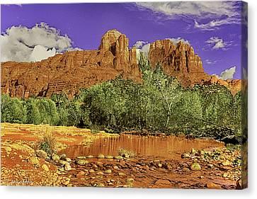 Sedona Arizona Cathedral Rocks Oak Creek Crossing Canvas Print by Bob and Nadine Johnston