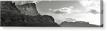 Sedona Arizona Mountains Black And White Panorama Canvas Print by Gregory Dyer